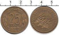 Изображение Монеты Камерун 25 франков 1958 Латунь XF Антилопы