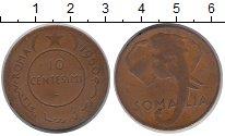 Изображение Монеты Сомали 10 сенти 1950 Бронза XF Слон