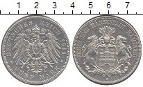 Изображение Монеты Гамбург 5 марок 1913 Серебро XF+