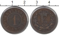 Изображение Монеты Дания 1 скиллинг 1863 Бронза XF Фредерик VII