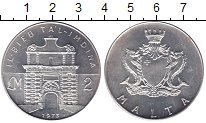 Изображение Монеты Мальта 2 фунта 1973 Серебро UNC- Ворота Мдина