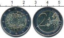 Изображение Монеты Ирландия 2 евро 2015 Биметалл UNC- 30 лет флагу Европы