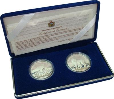 Изображение Подарочные монеты Сан-Марино Сохранение животного мира 1996 Серебро Proof Набор посвящен защит