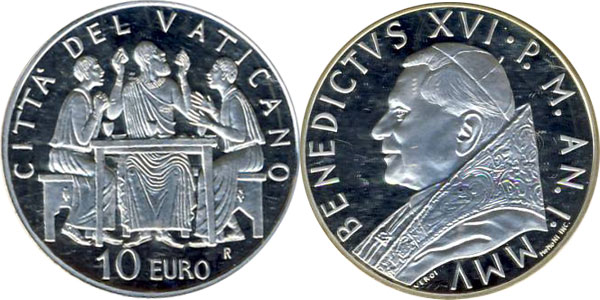 Картинка Подарочные наборы Ватикан Понтификат Бенедикта XVI Серебро 2005