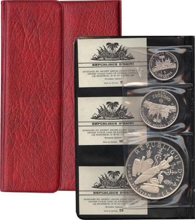 Изображение Подарочные монеты Гаити Памятные монеты 1968 1967 Серебро Proof- Представляем вам под