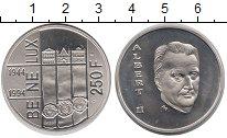 Изображение Монеты Бельгия 250 франков 1994 Серебро Proof Альберт II. 50 лет Б