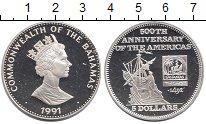 Изображение Монеты Багамские острова 5 долларов 1991 Серебро Proof- 500 лет открытия Аме