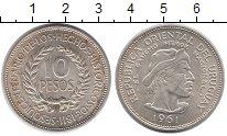 Изображение Монеты Уругвай 10 песо 1961 Серебро UNC- 150 - летие  Революц
