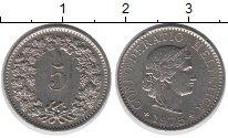 Изображение Монеты Швейцария 5 рапп 1975 Медно-никель XF