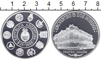 Изображение Монеты Аргентина 25 песо 2005 Серебро Proof Серия встреча двух м
