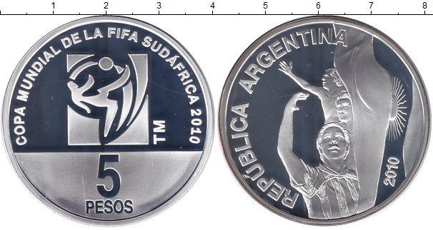 Картинка Монеты Аргентина 5 песо Серебро 2010
