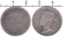 Изображение Монеты Стрейтс-Сеттльмент 20 центов 1891 Серебро XF-