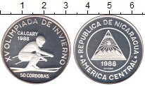 Изображение Монеты Никарагуа 50 кордоба 1988 Серебро Proof- Олимпиада 88 в Калга