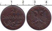 Изображение Монеты Албания 2 киндарка 1935 Бронза XF