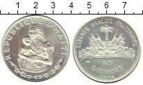 Изображение Монеты Гаити 50 гурдес 1974 Серебро XF Мать  и  дитя