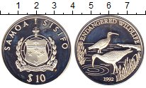 Изображение Монеты Самоа 10 долларов 1992 Серебро Proof- Защитим  дикую  прир