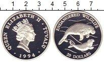 Изображение Монеты Тувалу 20 долларов 1994 Серебро Proof- Елизавета II.  Защит