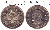 Изображение Монеты Сент-Люсия 5 долларов 1986 Медно-никель UNC Визит  Понтифика