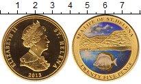 Изображение Монеты Остров Святой Елены 25 пенсов 2013 Латунь Proof Цифровая  печать.  Е