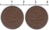 Изображение Монеты Германия ФРГ 2 пфеннига 1958 Бронза XF