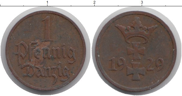 Картинка Монеты Данциг 1 пфенниг Бронза 1929