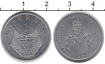 Изображение Монеты Руанда 1 франк 1977 Алюминий UNC-
