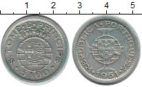 Изображение Монеты Сан-Томе и Принсипи 5 эскудо 1951 Серебро XF Протекторат  Португа