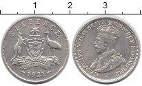 Изображение Монеты Австралия 6 пенсов 1921 Серебро XF Георг V