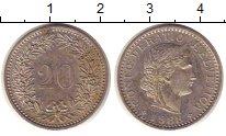 Изображение Монеты Швейцария 20 рапп 1988 Медно-никель XF