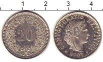 Изображение Монеты Швейцария 20 рапп 2007 Медно-никель XF