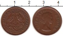 Изображение Монеты ЮАР 1/4 пенса 1955 Медь VF Елизавета II
