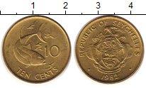 Изображение Монеты Сейшелы 10 центов 1982 Латунь XF Рыба
