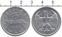 Изображение Монеты Веймарская республика 3 марки 1922 Алюминий UNC-