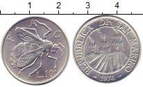 Изображение Монеты Сан-Марино 10 лир 1974 Алюминий XF