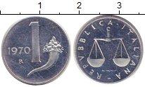 Изображение Монеты Италия 1 лира 1970 Алюминий XF