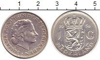 Изображение Монеты Нидерланды 1 гульден 1958 Серебро XF