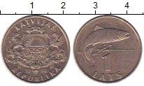 Изображение Монеты Латвия 1 лат 1992 Медно-никель XF Рыба