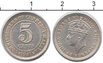 Изображение Мелочь Малайя 5 центов 1941 Серебро UNC Георг VI