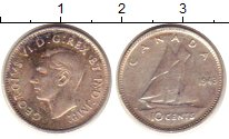 Изображение Монеты Канада 10 центов 1943 Серебро XF