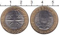 Изображение Монеты Сан-Марино 1000 лир 1999 Биметалл UNC- Роза ветров