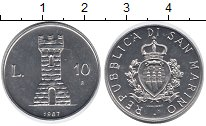 Изображение Монеты Сан-Марино 10 лир 1987 Алюминий UNC-