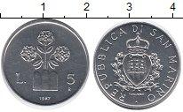 Изображение Монеты Сан-Марино 5 лир 1987 Алюминий UNC-