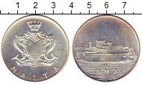Изображение Монеты Мальта 2 фунта 1972 Серебро UNC-