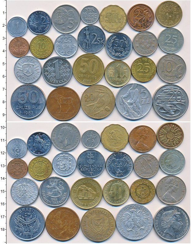 Изображение Лоты монет для начинающих нумизматов Монеты стран мира Лот №01325 0