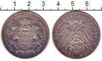 Изображение Монеты Германия Гамбург 3 марки 1909 Серебро XF
