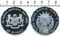 Изображение Монеты Малайзия 25 рингит 1982 Серебро Proof-