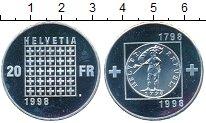 Изображение Монеты Швейцария 20 франков 1998 Серебро Proof 200 - летие  Республ