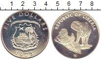 Изображение Монеты Либерия 5 долларов 1973 Серебро Proof- Слон