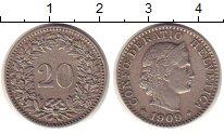 Изображение Монеты Швейцария 20 рапп 1909 Медно-никель XF В