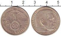 Изображение Монеты Третий Рейх 2 марки 1939 Серебро XF F   Пауль  фон  Гинд